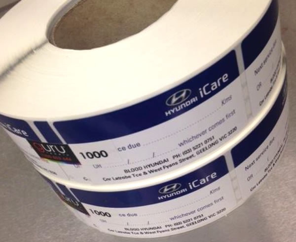 Double Sided Labels - Hyundai iCare