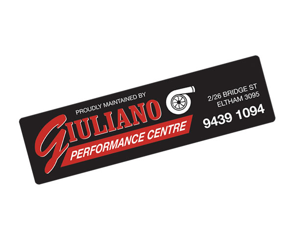 Rear Window Labels - Giuliano Performance Centre