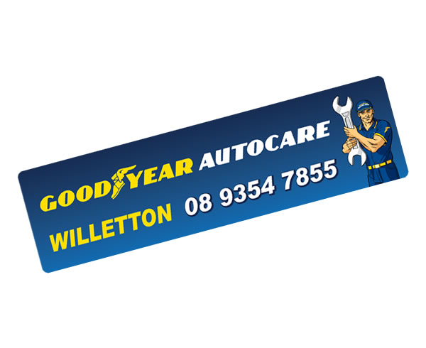 Rear Window Labels - Good Year Autocare